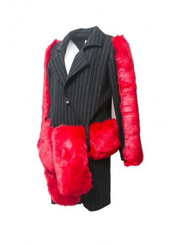 Pinstripe Jacket with Red Fur