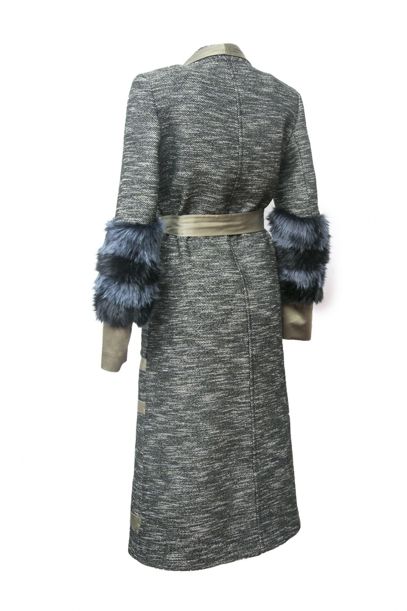 Textured Coat with Green Trim and Fur Sleeve
