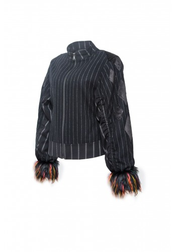 Pinstripe Track Jacket with Fur Cuff