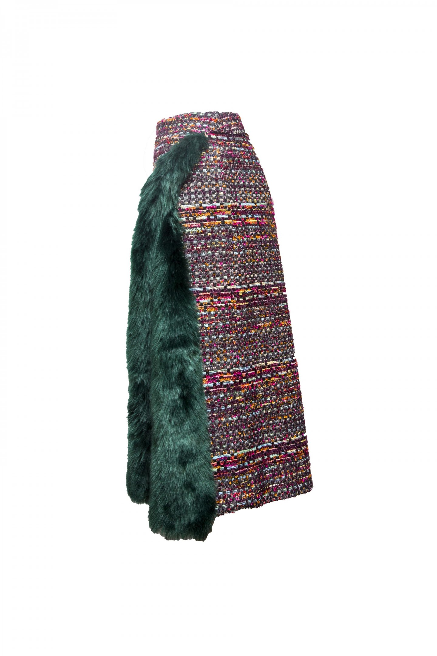 Tweed Slit Skirt with Fur