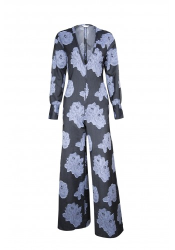 V-NECK FLOWER PRINT JUMPSUIT