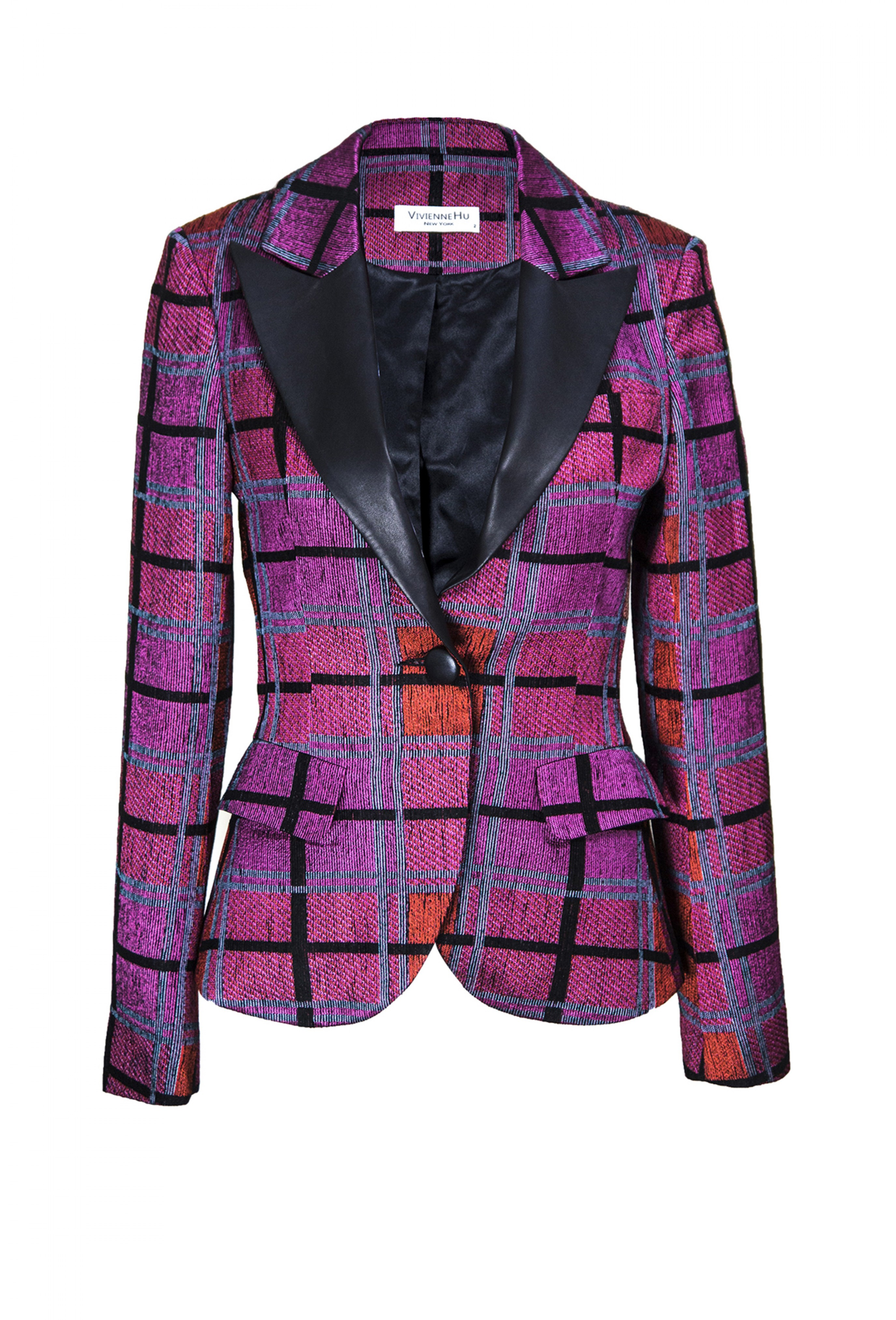 CHECKED SINGLE BREAST BLAZER