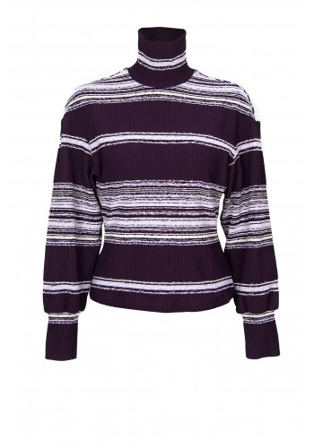 STRIPED MULBERRY TURTLE NECK