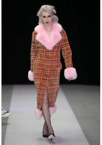 MANDARINE COTTON CANDY FUR COAT