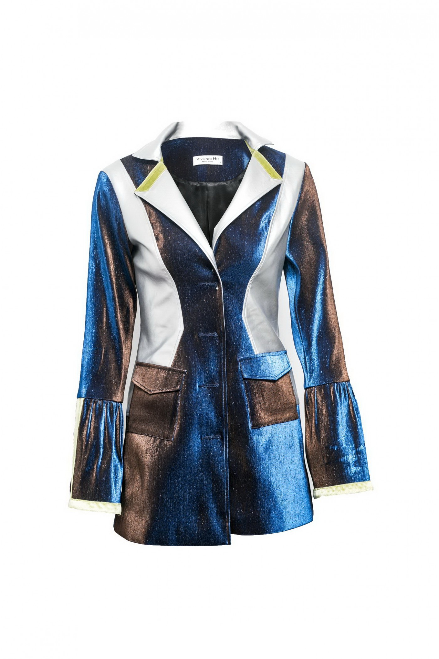 IRIDESCENT SUIT JACKET WITH LEATHER