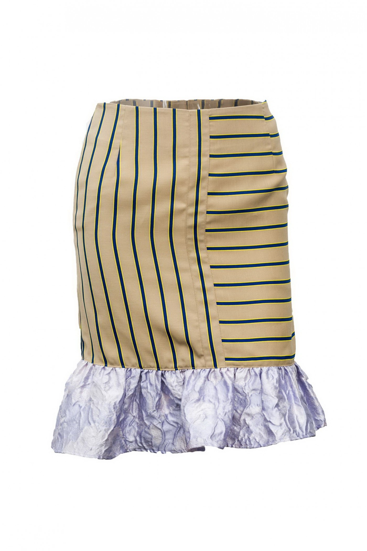 PINSTRIPE BUBBLE SKIRT WITH RUFFLE DETAIL