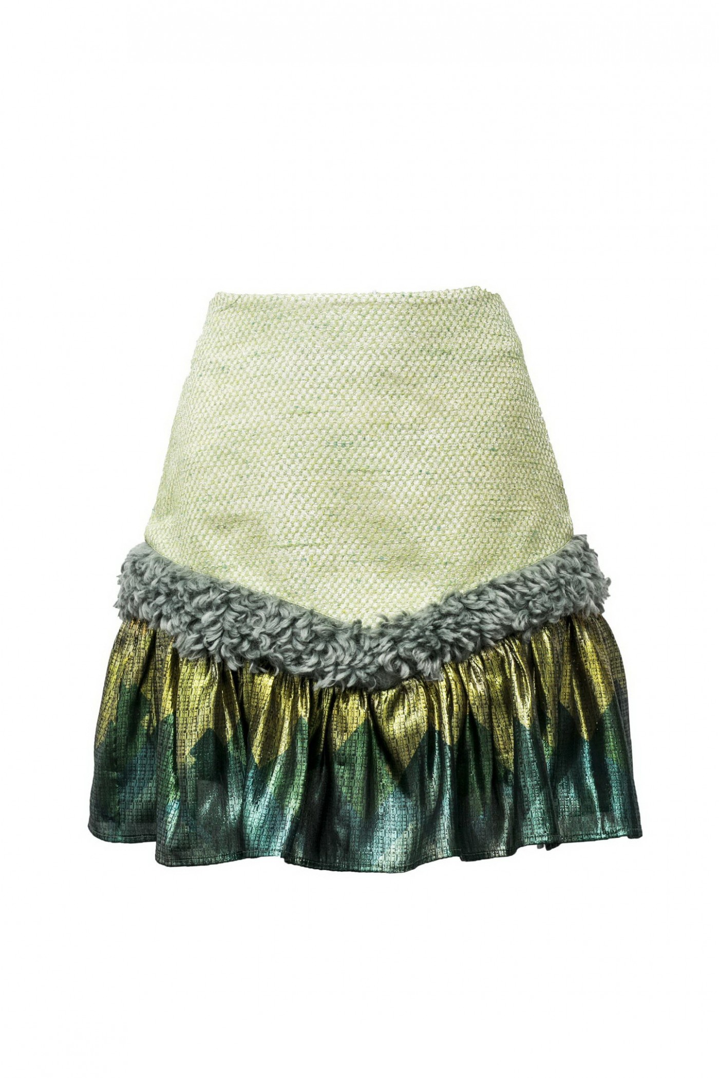 PLEATED OFFICE SKIRT WITH FUR TRIM