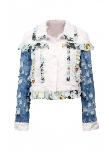 DENIM MIXED MEDIA JACKET WITH RUFFLE