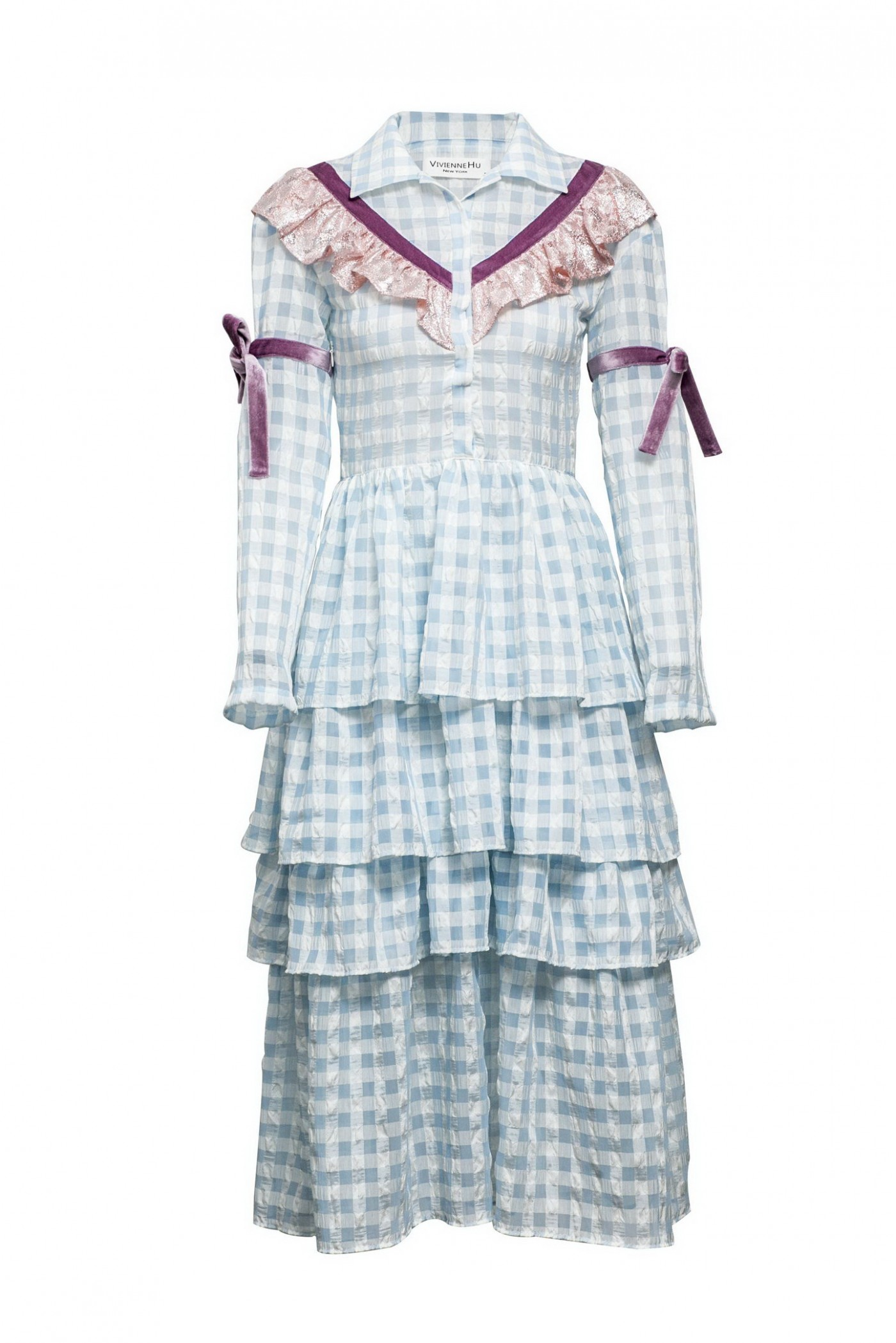 TIERED CHECKED DRESS
