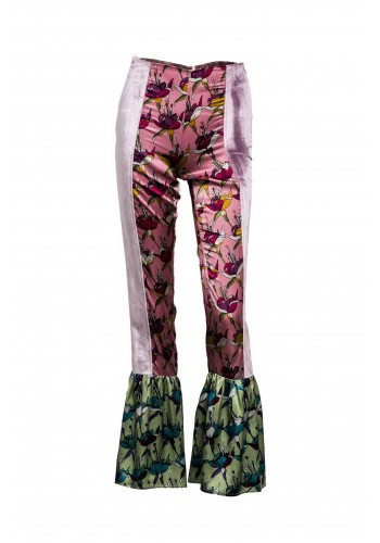 FLARED PRINTED PANT WIT VELVET STRIPE