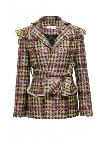 JACQUARD SUIT JACKET WITH RUFFLE TRIM