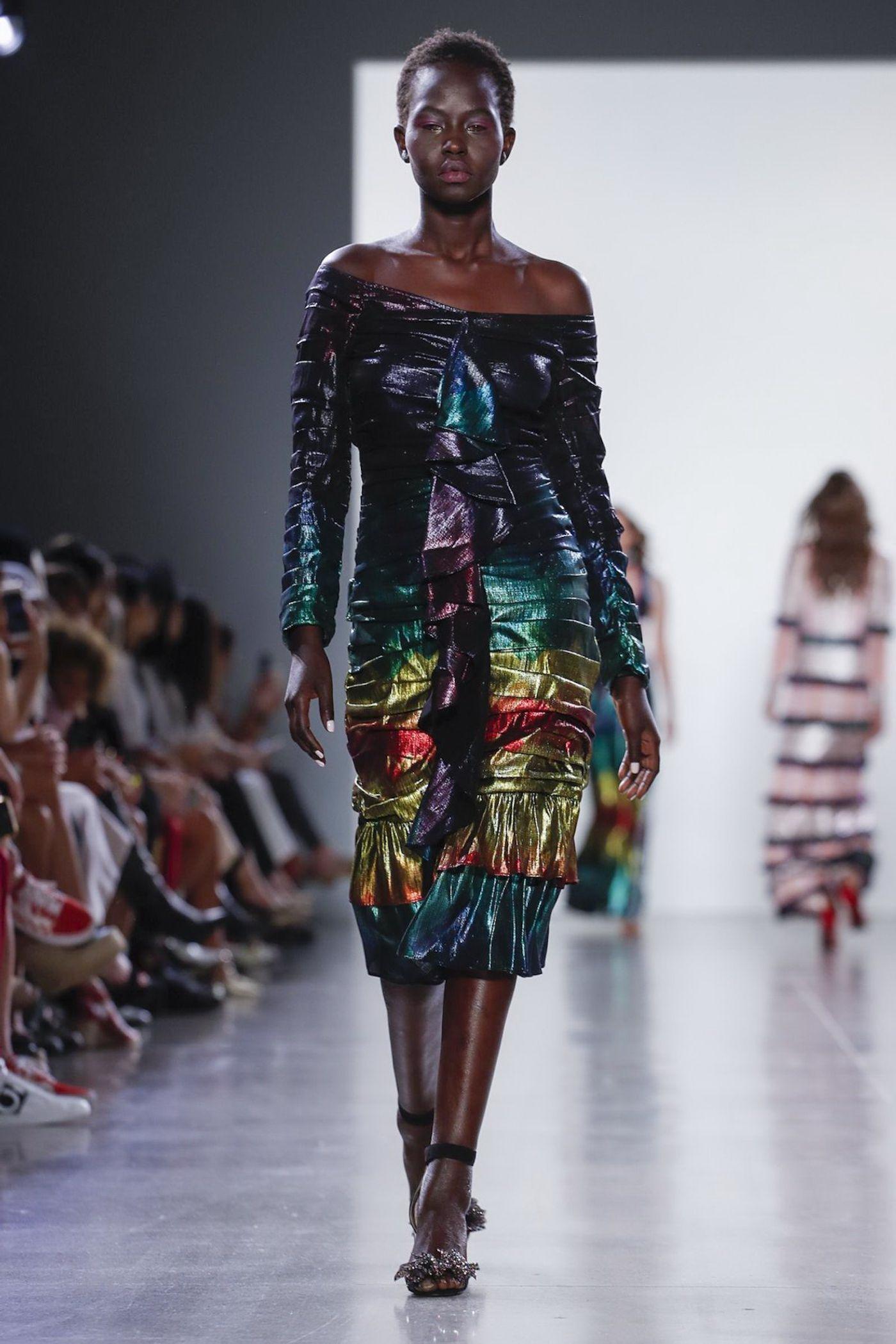 OFF-SHOULDER METALLIC RAINBOW DRESS