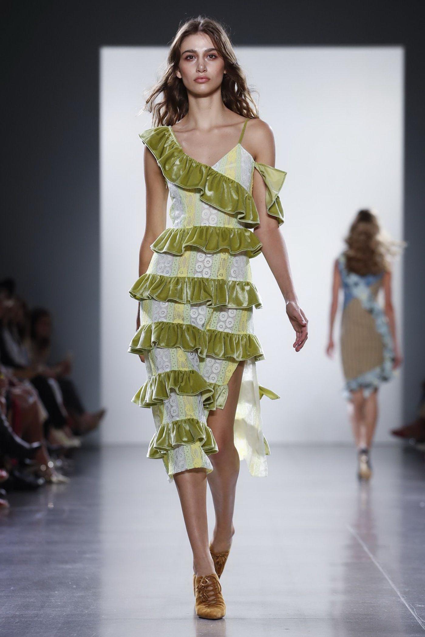 GREEN RUFFLE LACE DRESS