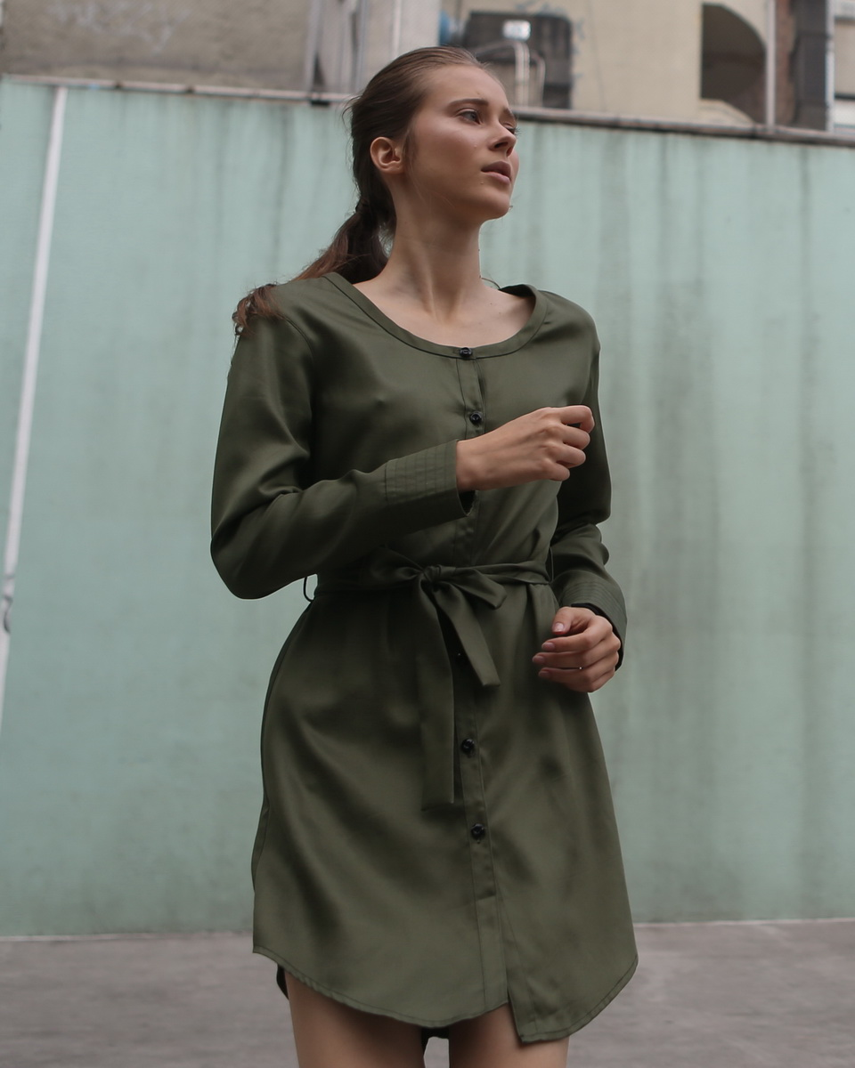Long Sleeve Button Down Waist-tie Dress