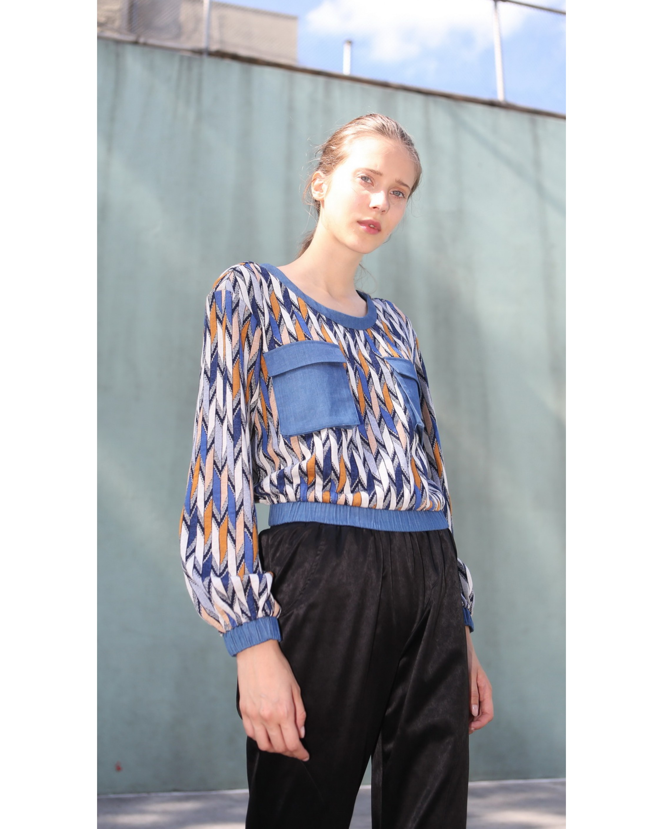 Blue and Orange  Patterned Blouse with Cinched Waist