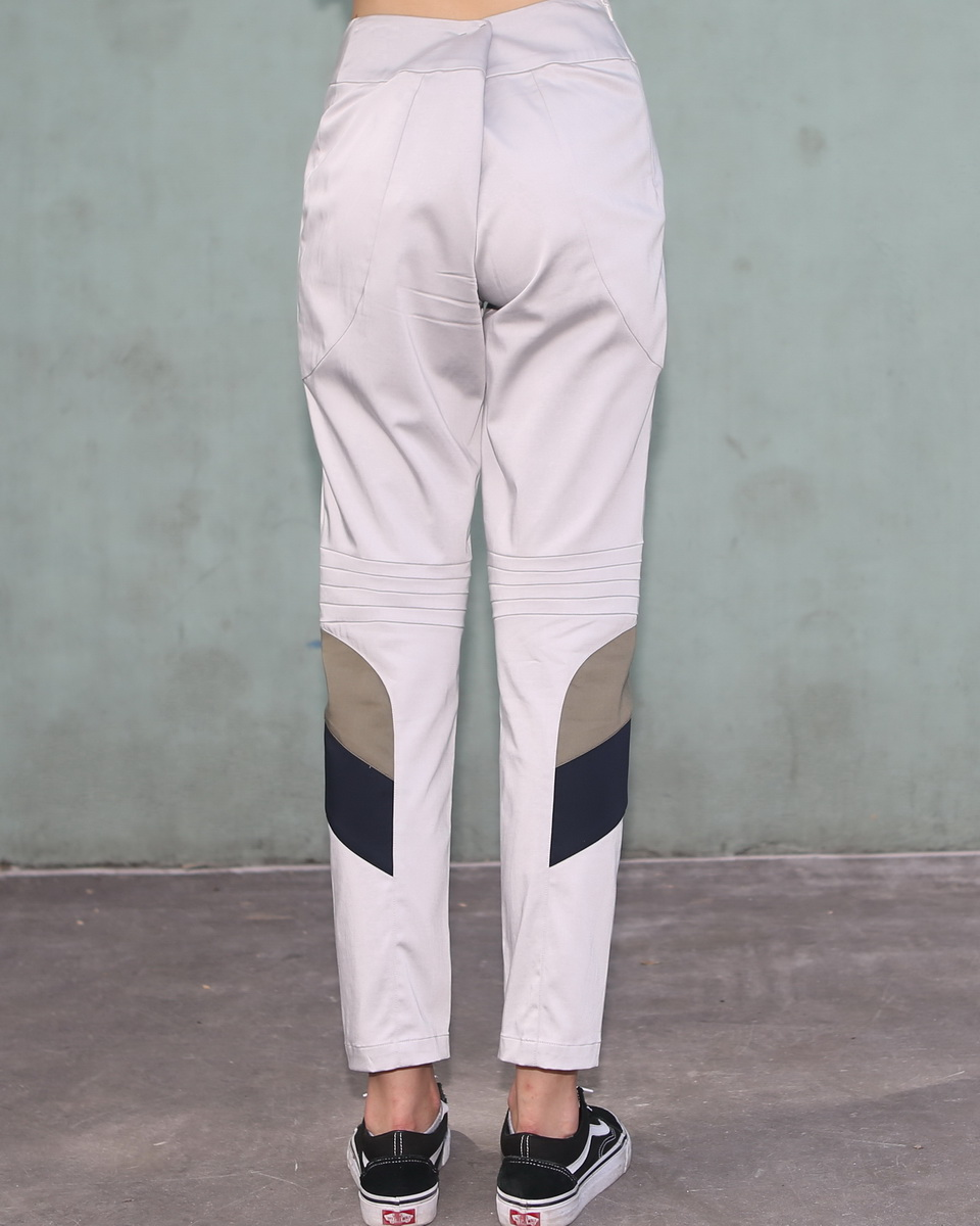 Cream Pants with Geometric Details