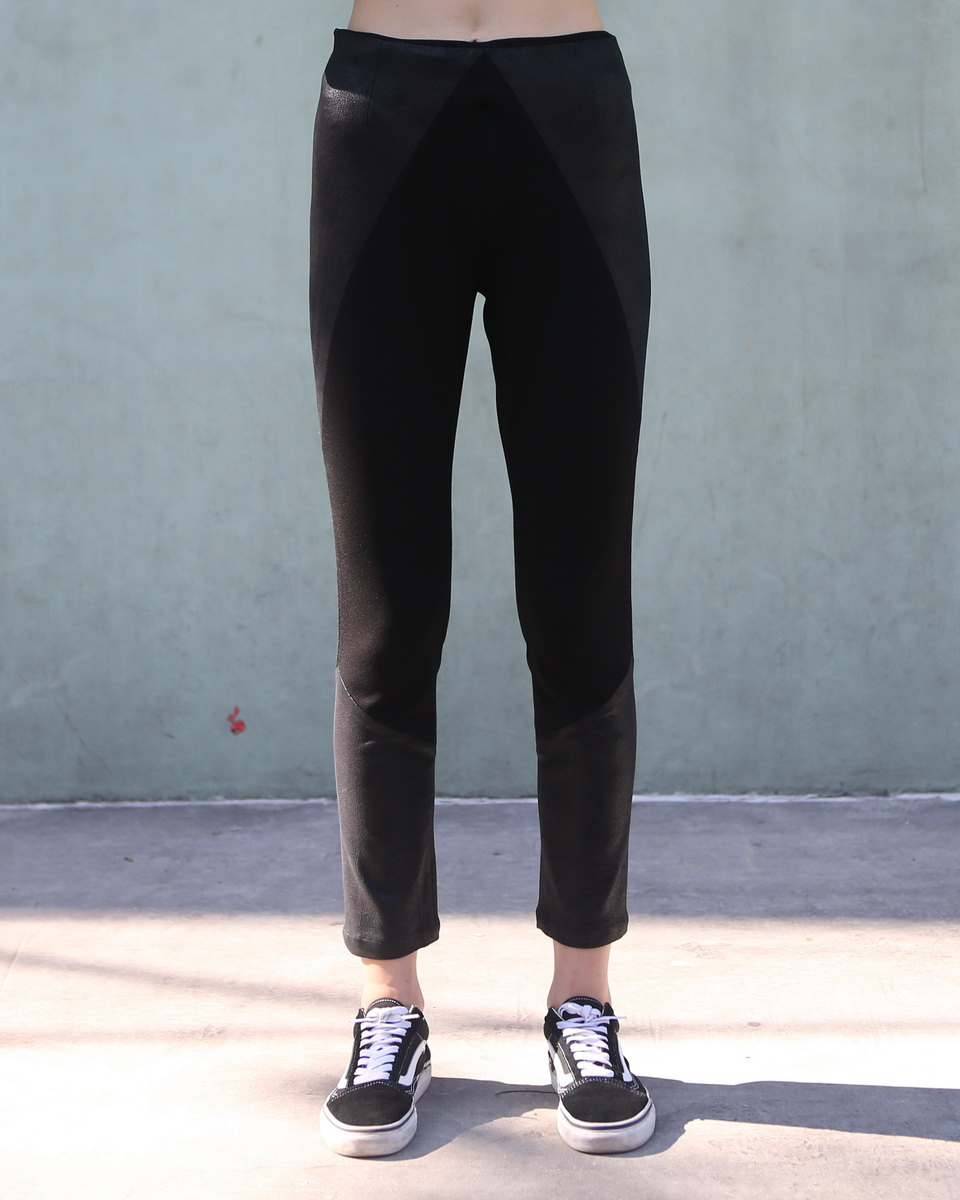 Faux Leather Pant With Top Stitching at Knee