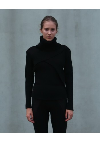Black Turtleneck with Asymmetrical Panels