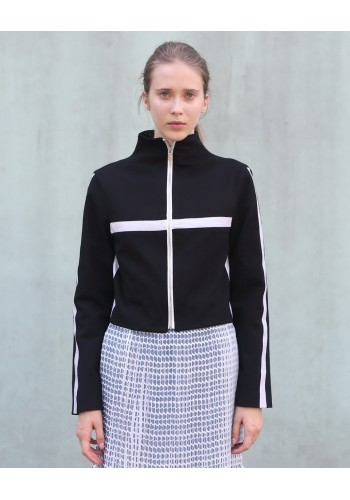 Black High-Neck Jacket with White Stripes