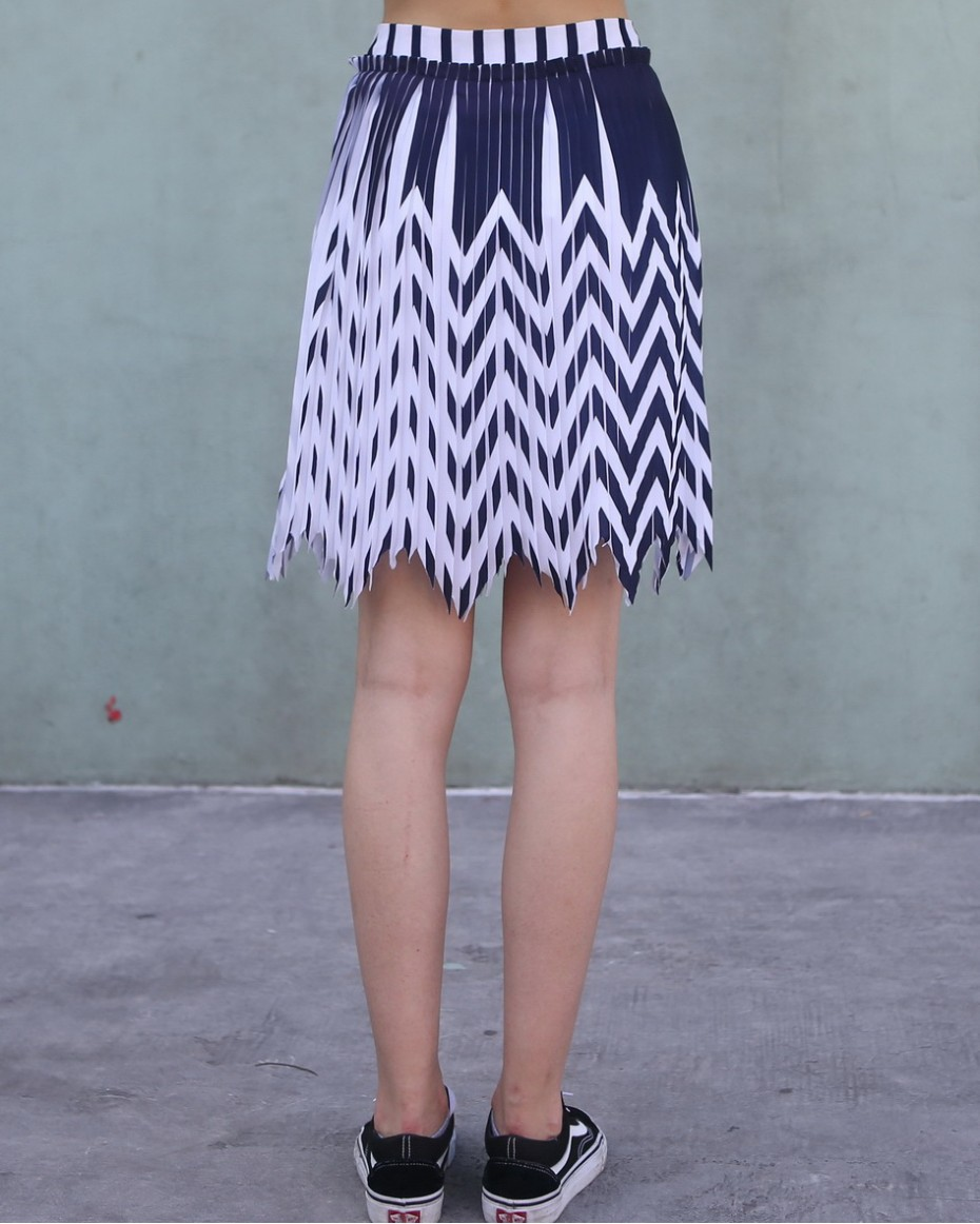 White and Blue Zig Zag Pleated Skirt