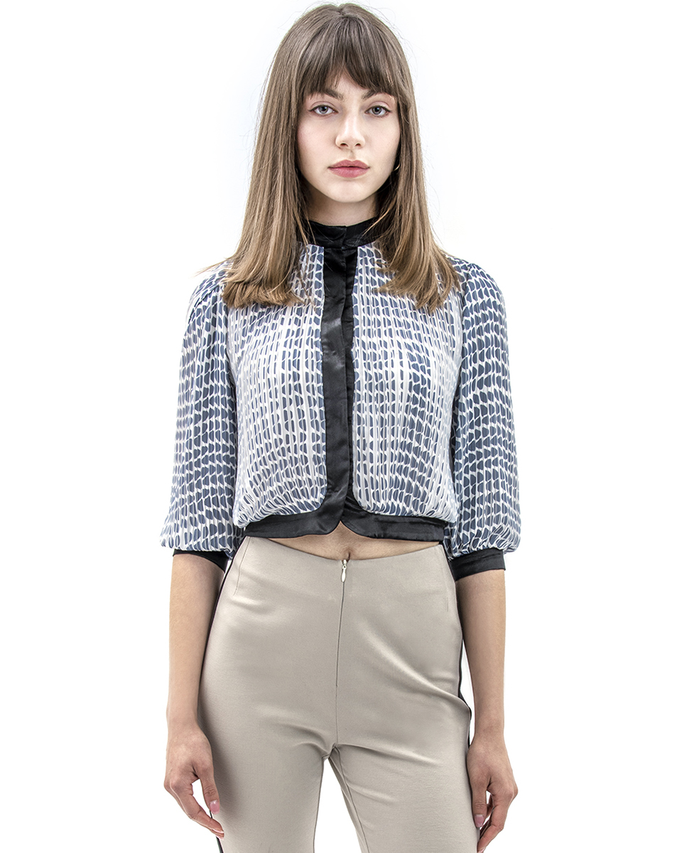 PRINTED PLEATED BUTTON-UP TOP