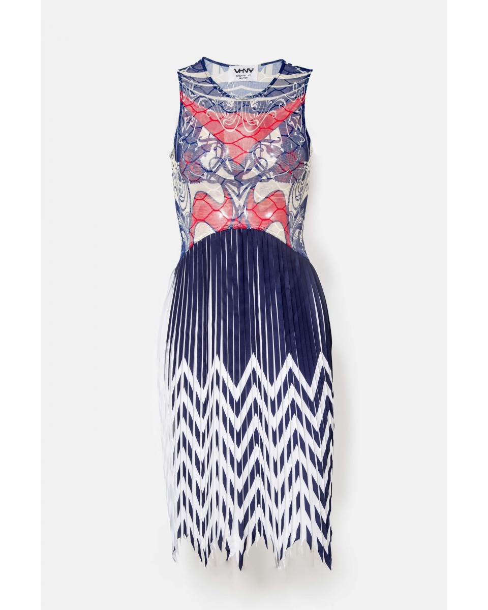 PRINT MESH AND PLEATED DRESS