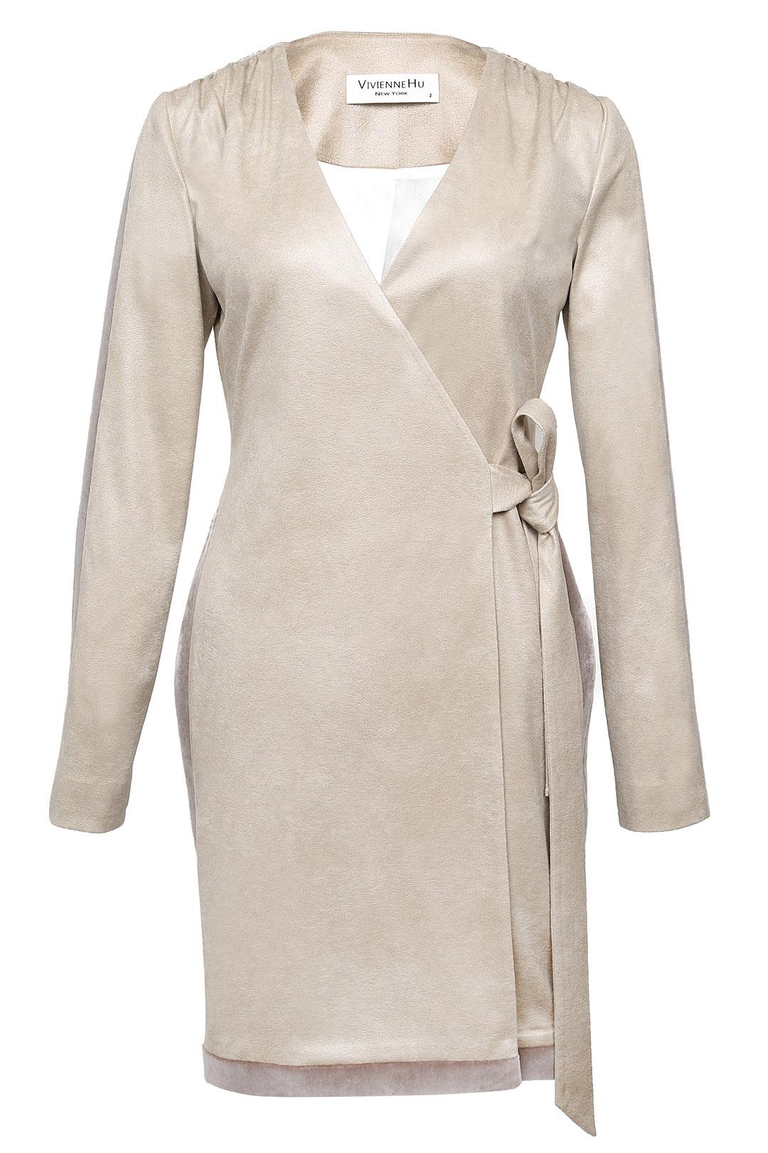 Velvet Trimmed Suede Dress