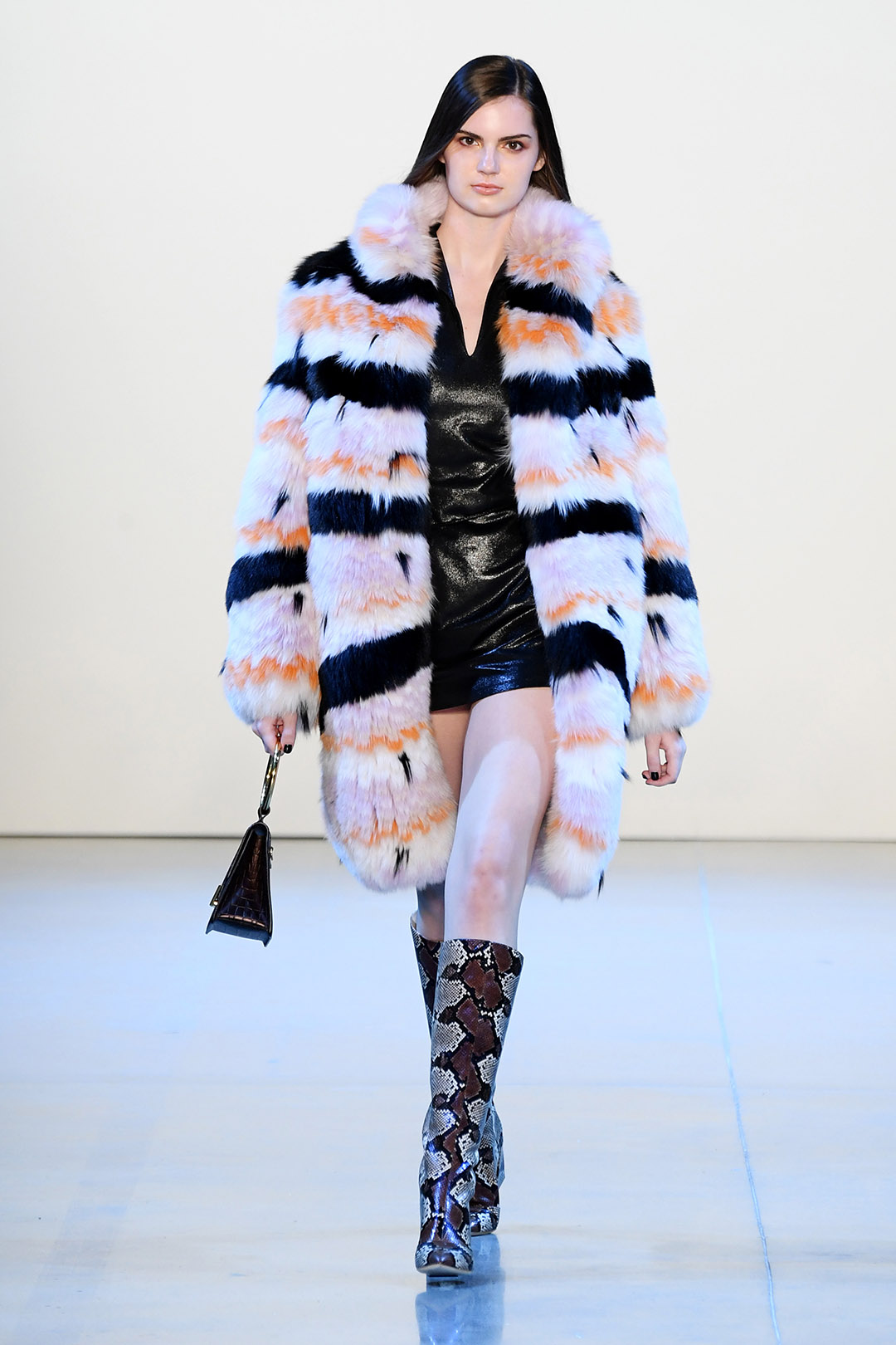 Black Striped Fur Coat