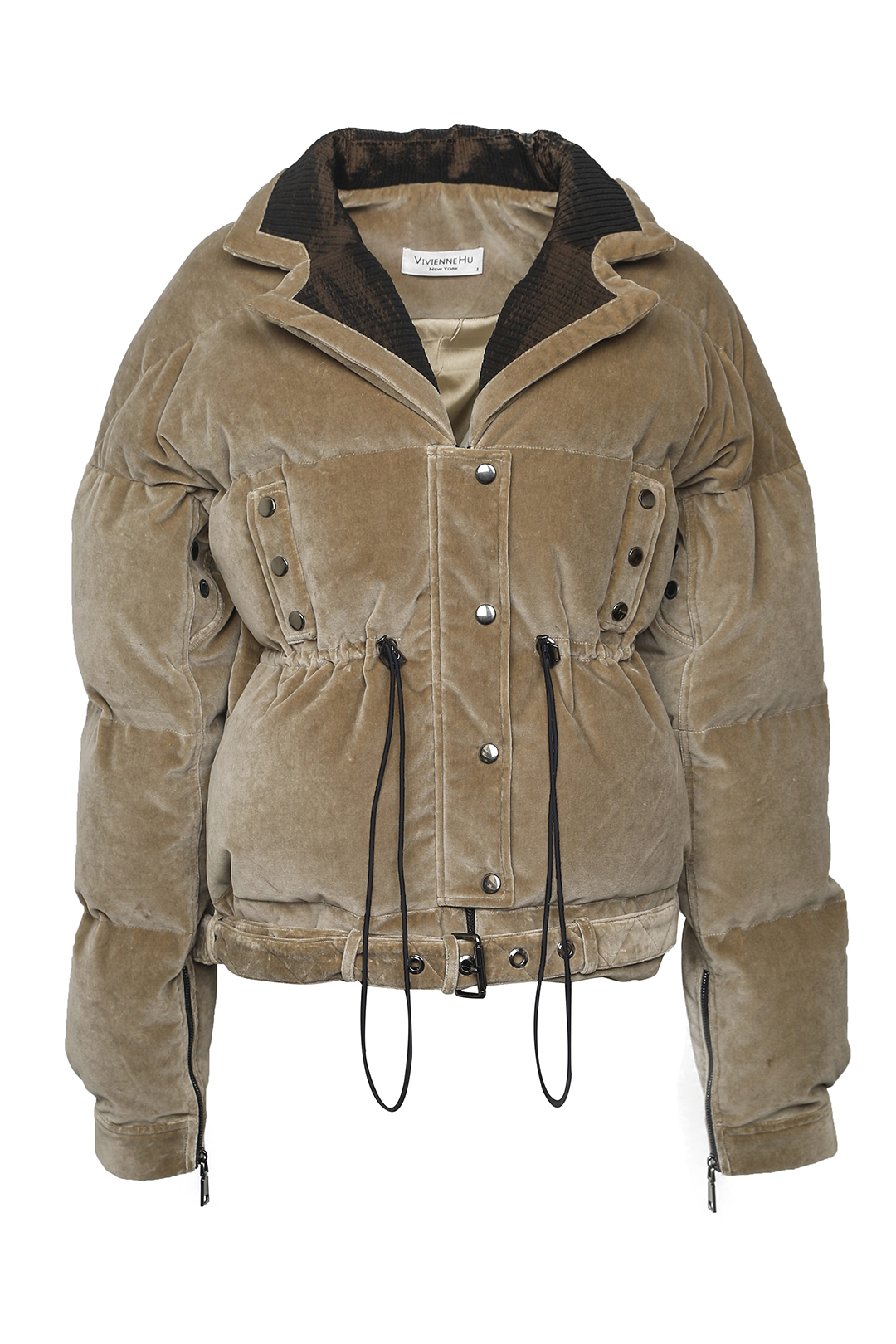 Velvet Drawstring Down Jacket