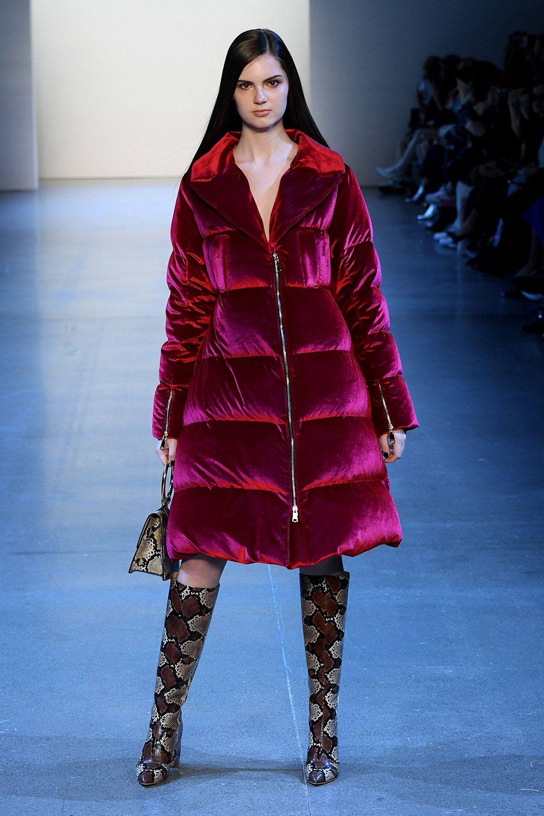 Red Velvet Long Down Coat