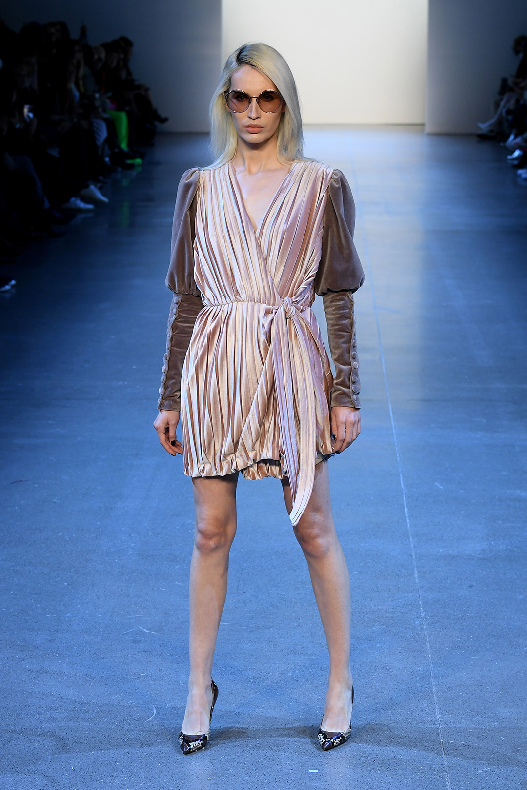 Velvet Pleated Tied Dress