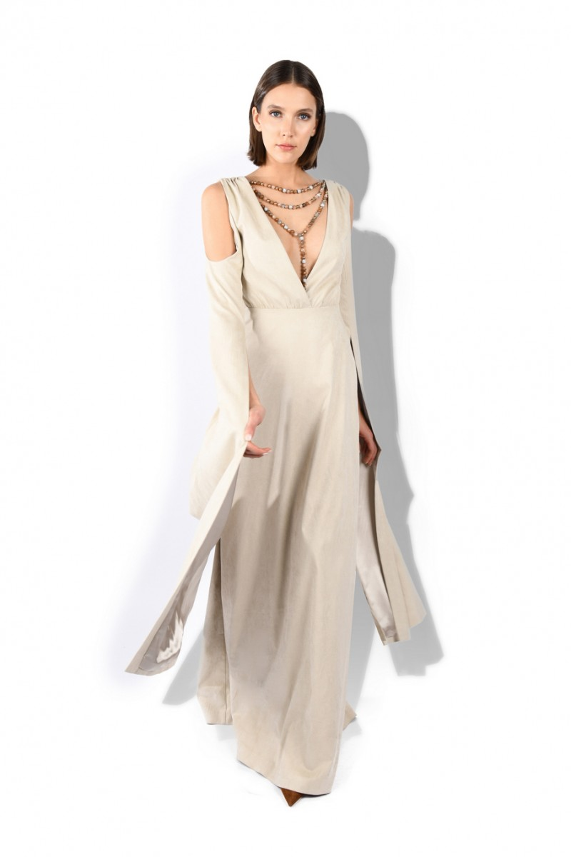 V-neck Open Sleeve Gown