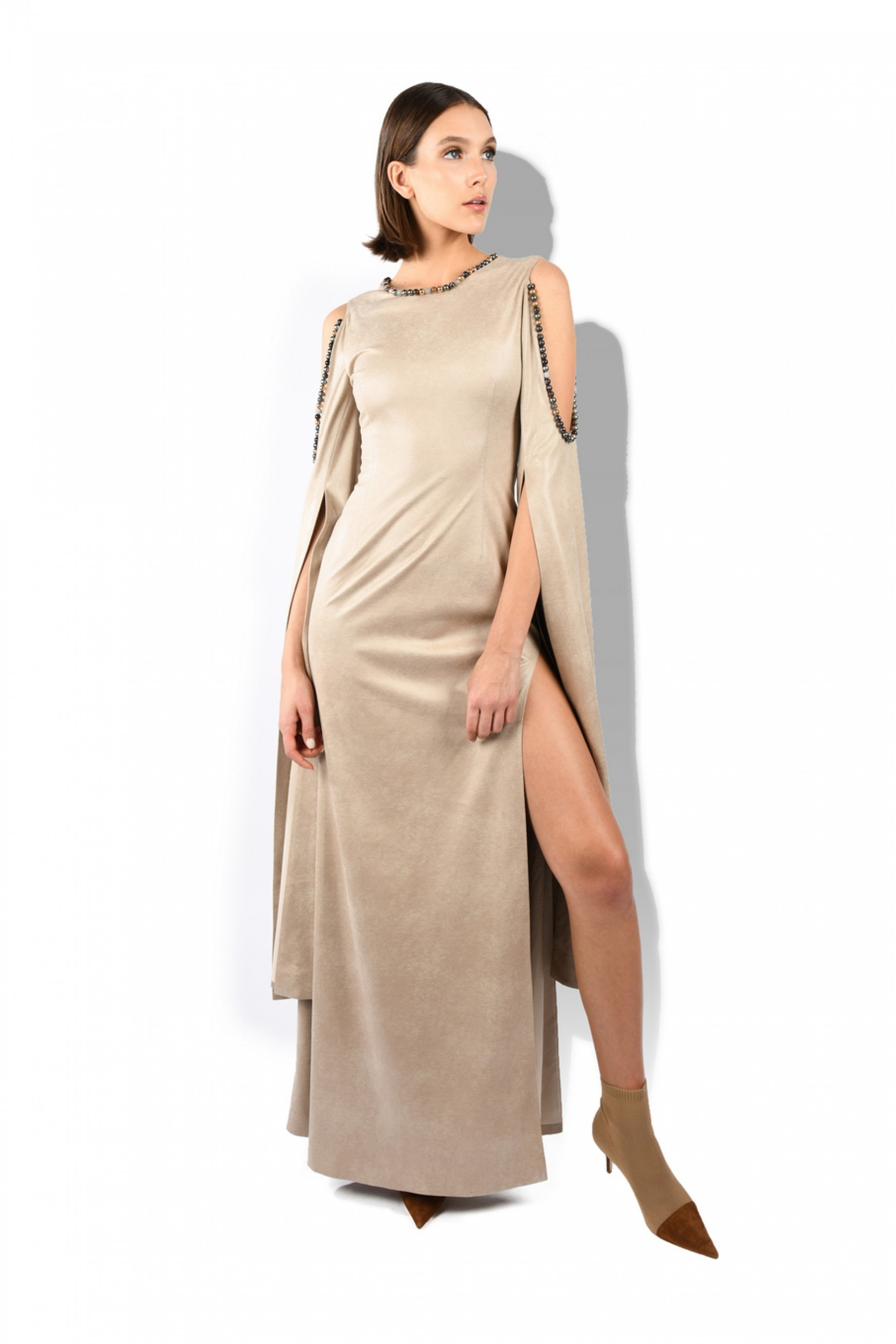 Jeweled Neck Side Open Gown