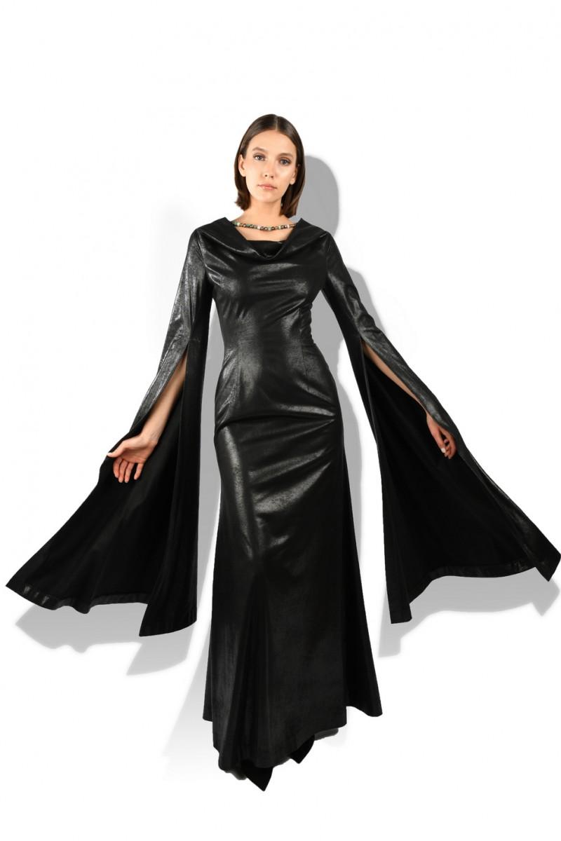Draped Neckline Choker Gown