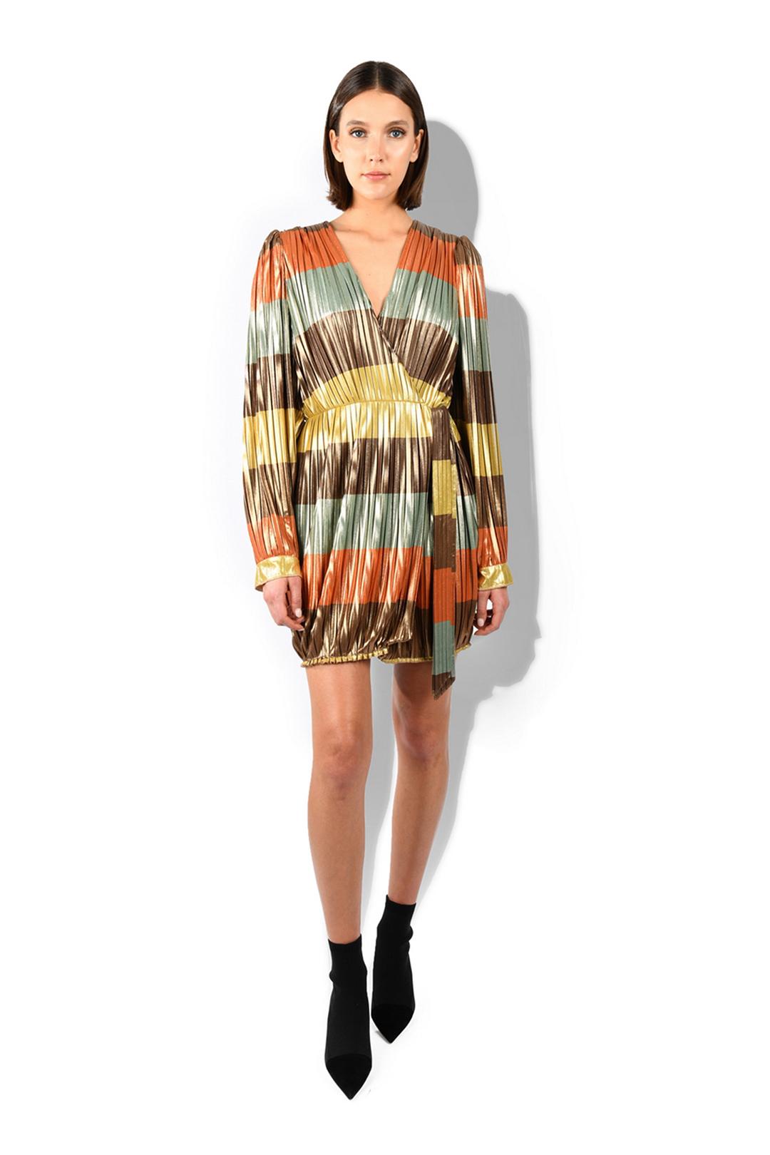 Rainbow Pleated Tied Dress