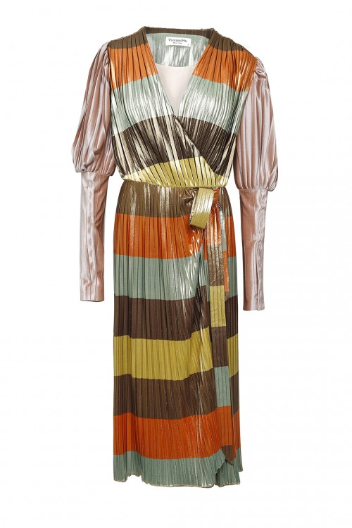 Rainbow Pleated Long Dress