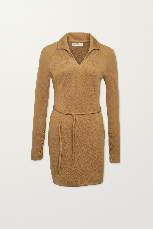 Tan Textured Shirt Dress