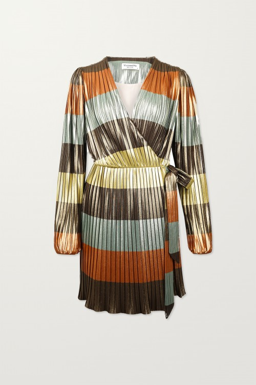 Rainbow Pleated Tied Dress