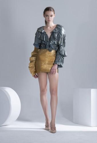 Gold Textured Ruffle Skirt