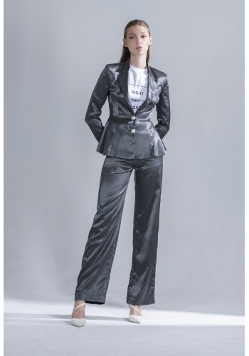 Dark Gray Satin Pants