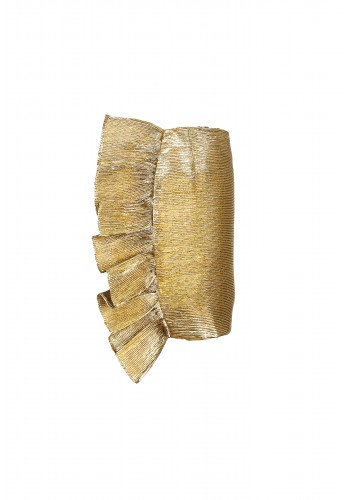 Gold Textured Ruffle Skirt