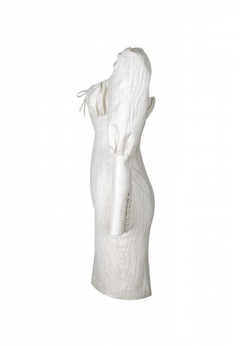 Balloon Sleeve White Dress