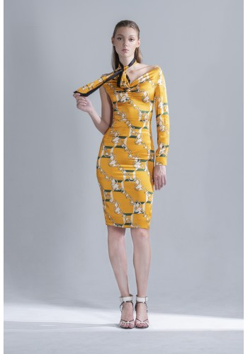 Asymmetry Signature Print Dress