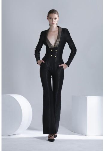 Pattern Textured V-neck Jumpsuit