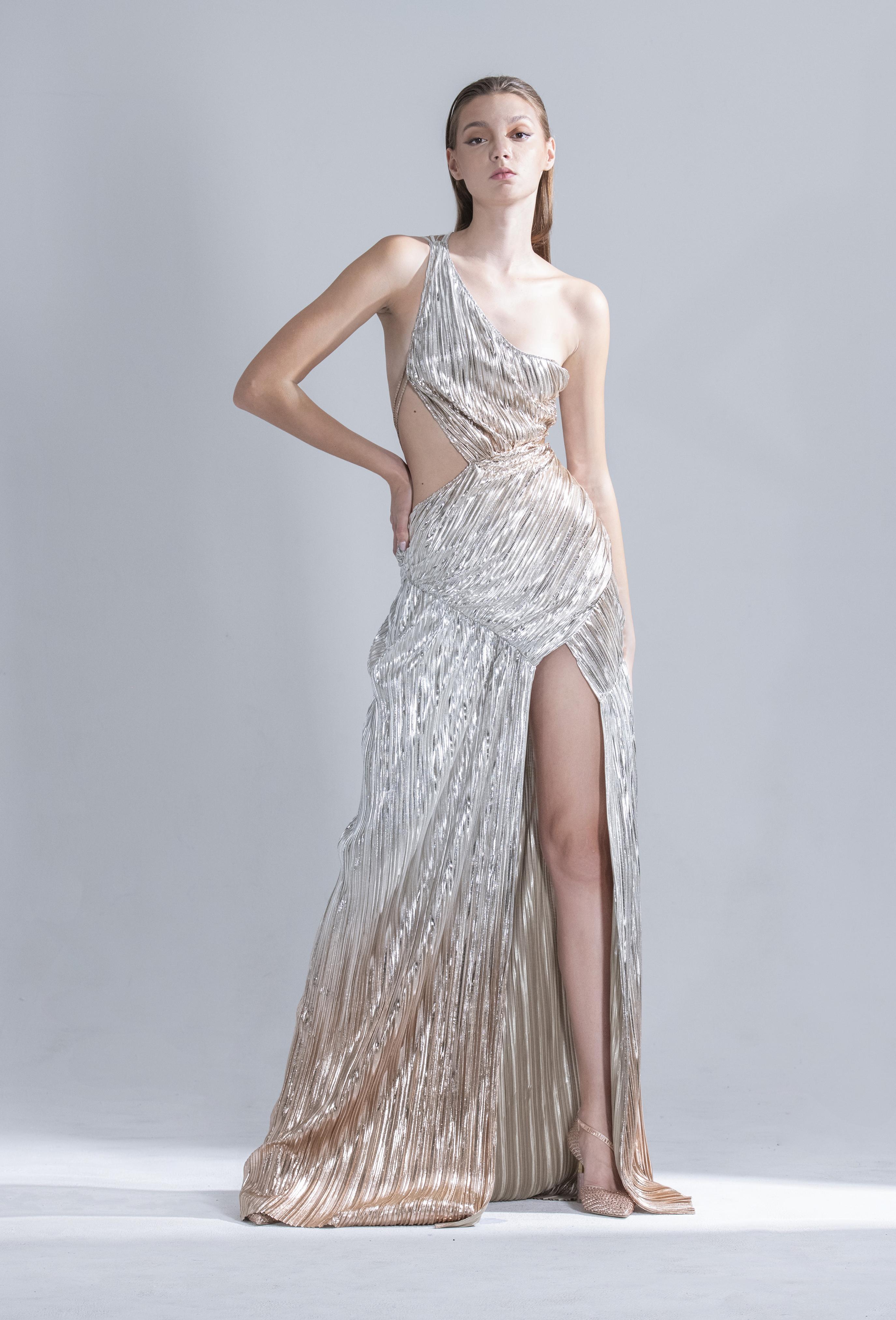 Asymmetry Metallic Pleated Gown