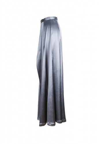 Dark Gray Satin Opening Maxi Skirt