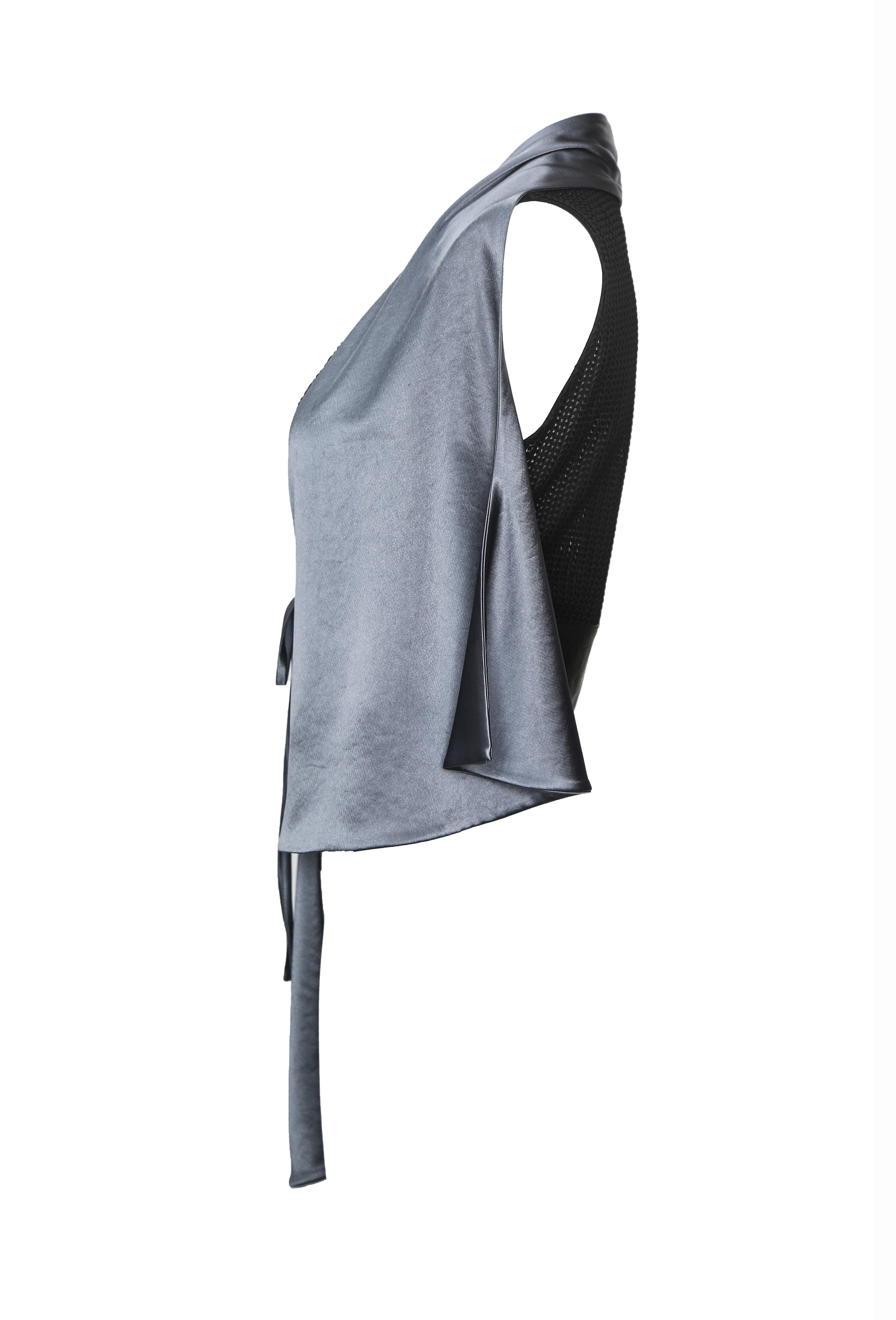 Dark Gray Satin Vest Top