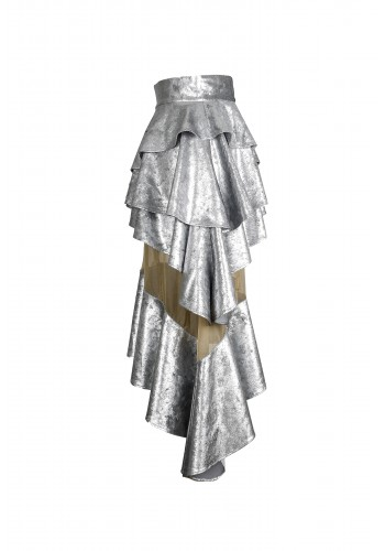 Silver Layered Ruffle Skirt