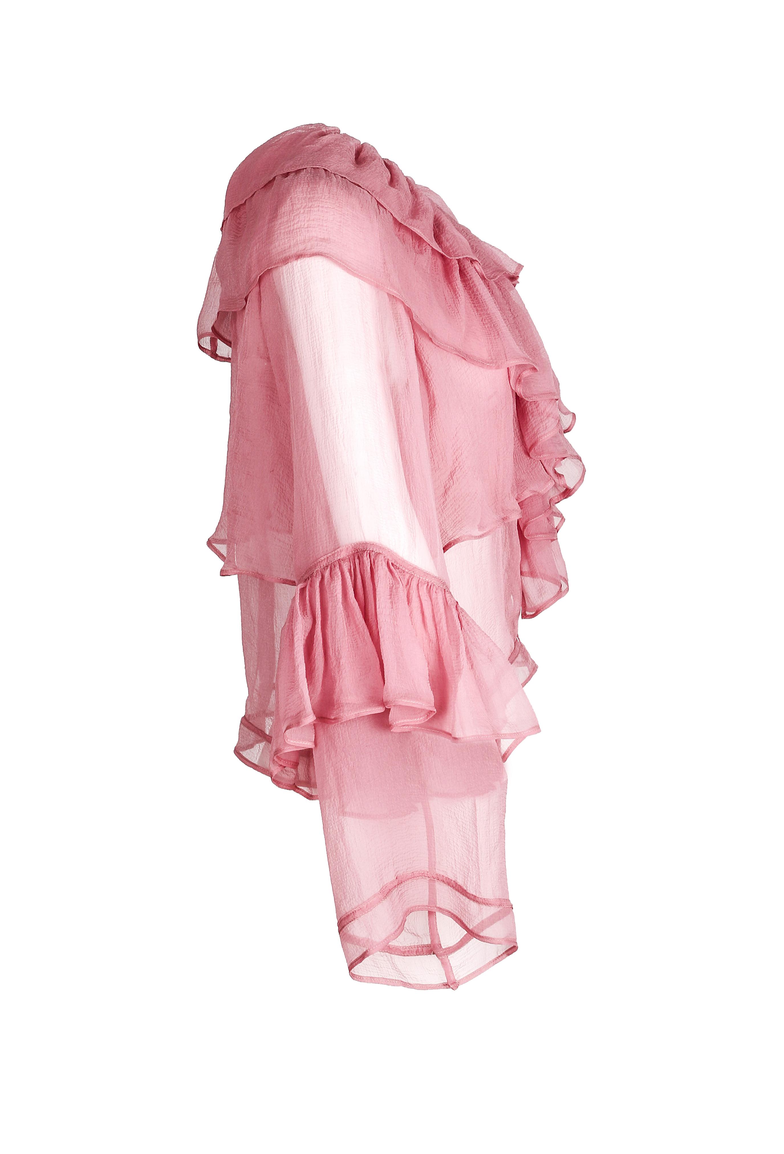 Pink Chiffon Ruffle Blouse