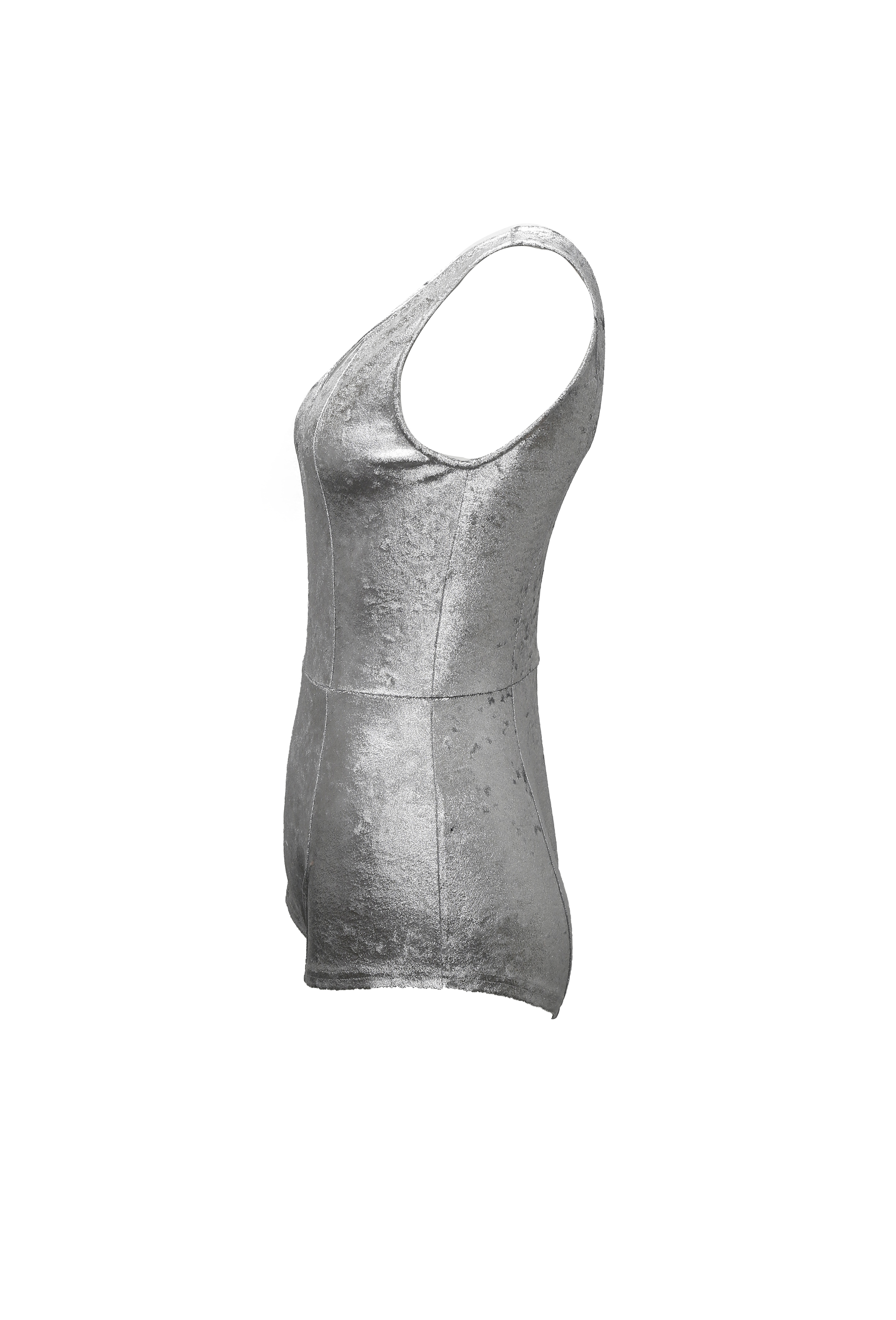 Silver Sleeveless Bodysuit